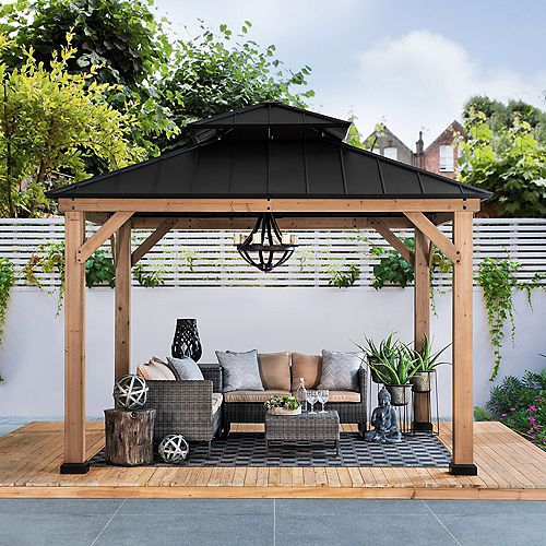 Archwood 10 ft. x 10 ft. Cedar Framed Gazebo with Steel Hardtop