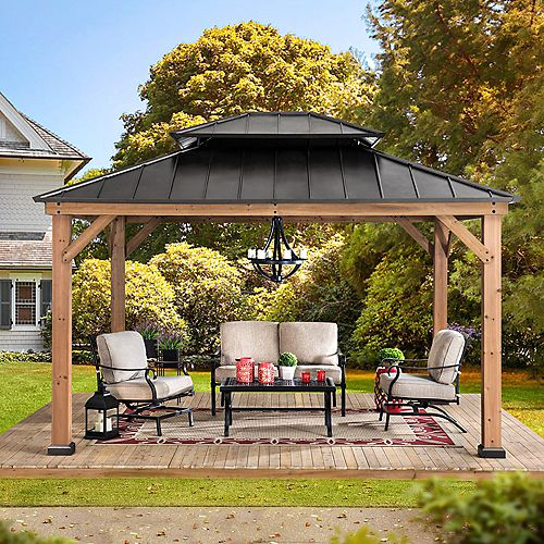 Archwood 10 ft. x 12 ft. Cedar Framed Gazebo with Steel Hardtop