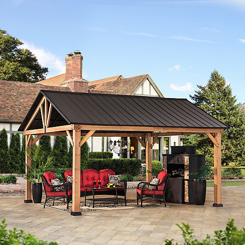 Wynn 12 ft. x 14 ft. Cedar Framed Gazebo with Brown Steel Gable Roof Hardtop