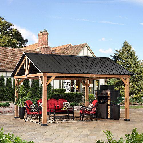 Columbus 14 ft. x 12 ft. Cedar Gazebo with Matte Black Steel Gable Roof Hardtop