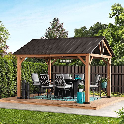 Sunjoy Apollo 12 ft. x 10 ft. Cedar Framed Gazebo with Brown Steel Gable Roof Hardtop
