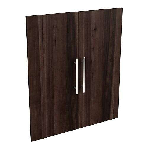 Style+ 25 in. W x 30 in. H Modern Walnut Melamine Modern Closet System Door Kit