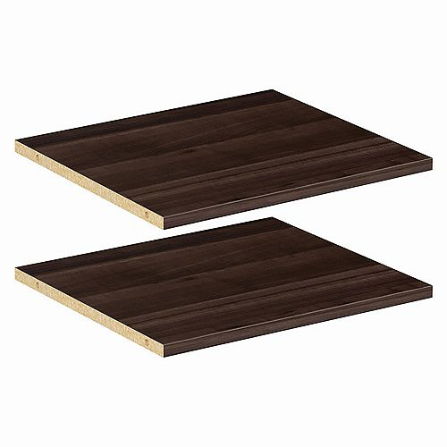 ClosetMaid Style+ 16 in Modern Walnut Melamine Extra Shelf Kit (2-Pack)
