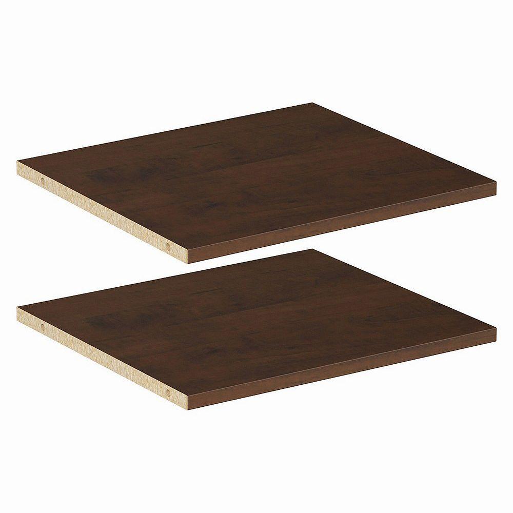 ClosetMaid Style+ 16 in Chocolate Melamine Extra Shelf Kit (2-Pack)