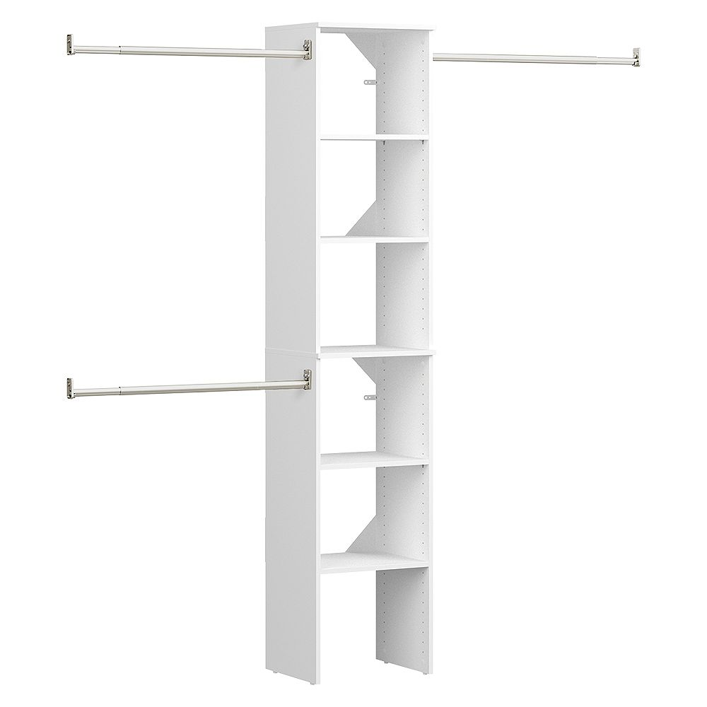 ClosetMaid Style+ 15 in. D x 16 in. W x 82 in. H White Melmanine Floor Mount 6-Shelf Closet Kit With Hang Rods