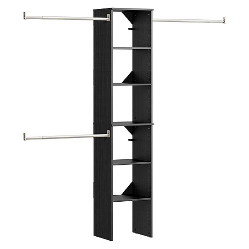 ClosetMaid Style+ 15 in. D x 16 in. W x 82 in. H Noir Melamine Floor Mount 6-Shelf Closet Kit With Hang Rods