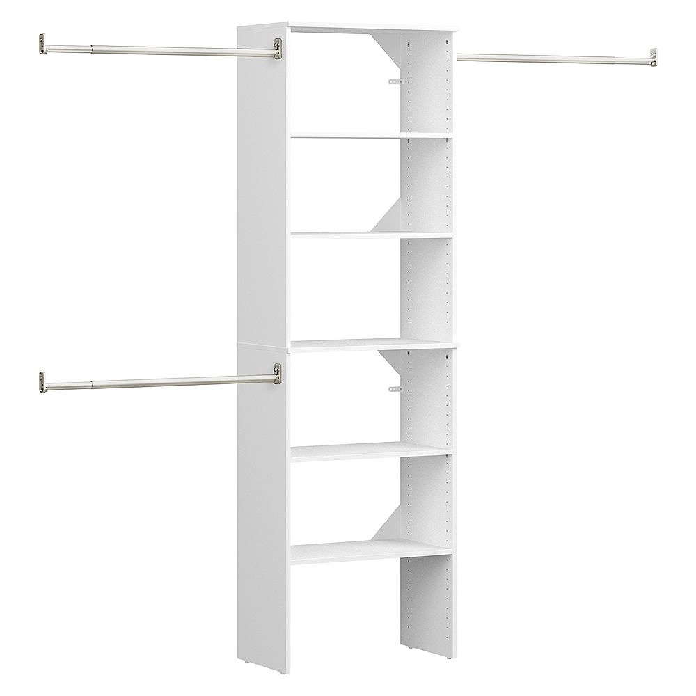 ClosetMaid Style+ 15 in. D x 25 in. W x 82 in. H White Melamine Floor Mount 6-Shelf Closet Kit With Hang Rods