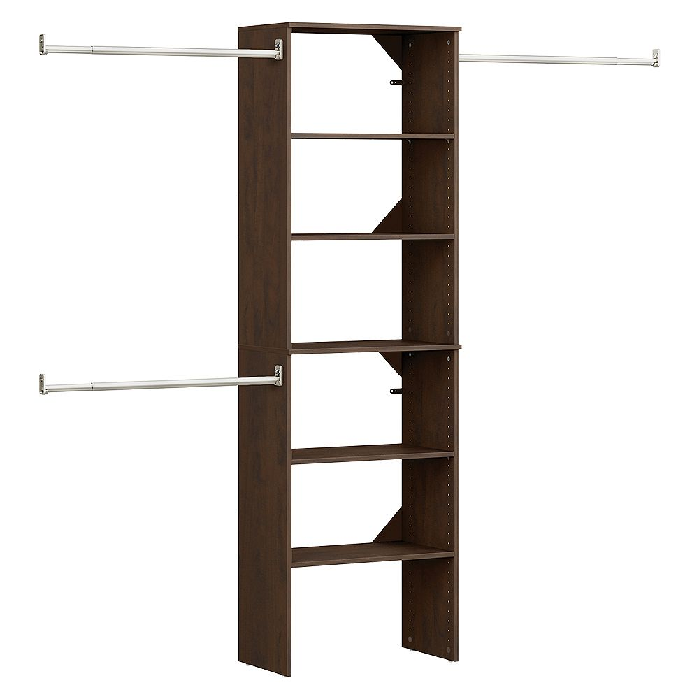 ClosetMaid Style+ 15 in. D 25 in. W x 82 in. H Chocolate Melamine Floor Mount 6-Shelf Closet Kit