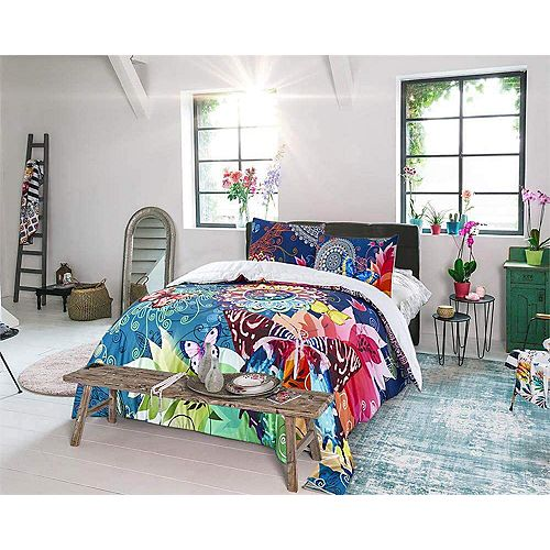 100% coton satiné motif floral Ultra doux respirant 3 pièces ensemble de couette Twin