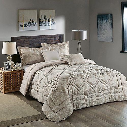 Super Soft 5Pcs Comforter Set Ultra 100% Reversible Comforters Brushed Lux Jacquard Microfiber King