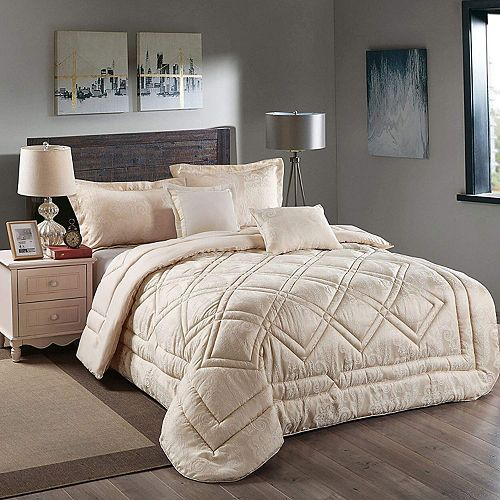 Super Soft 5Pcs Comforter Set Ultra 100% Reversible Comforters Brushed Lux Jacquard Microfiber Queen