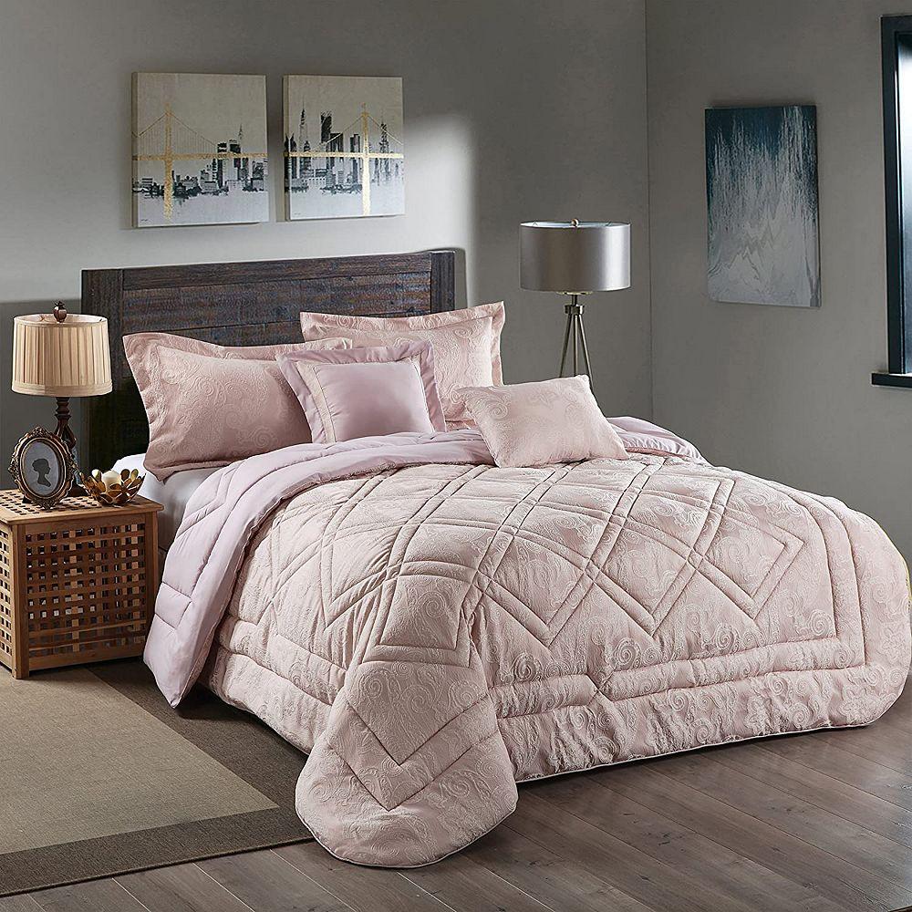 New Season Home Super Soft 5Pcs Comforter Set Ultra 100% Reversible Comforters Brushed Lux Jacquard Microfiber King