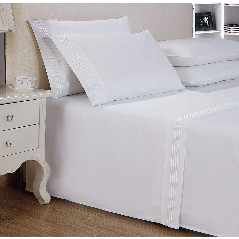 New Season Home 1000 TC coton satiné 4 lignes tissu de broderie collections hôtel luxe 4pc ensemble de draps roi