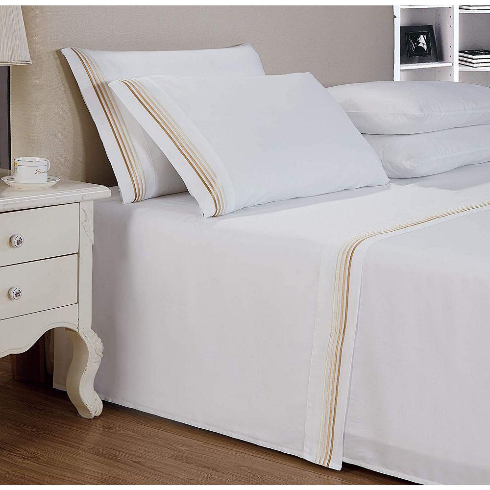 New Season Home 1000 TC coton satiné 4 lignes tissu de broderie collections hôtel luxe 4pc ensemble de draps Reine