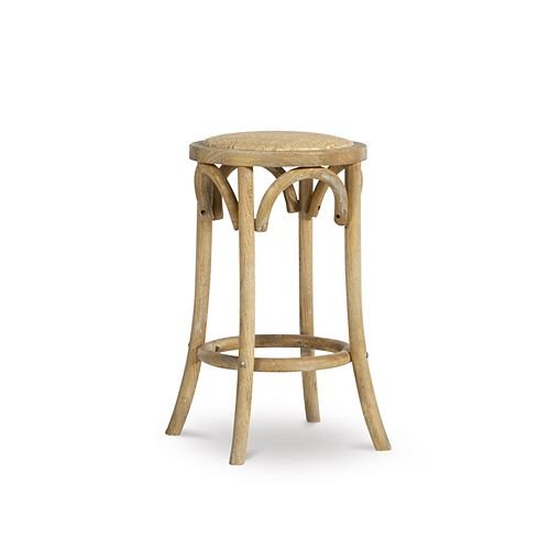 Whit Rattan Seat Backless Counter Stool