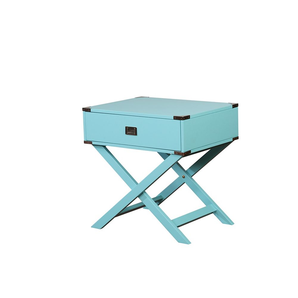 Linon Home Décor Products Posey X Base Blue Accent Table