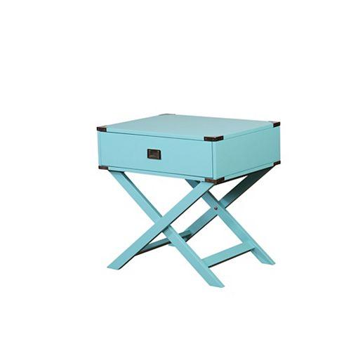 Linon Home Décor Products Table dappoint avec base en X Posey, bleu