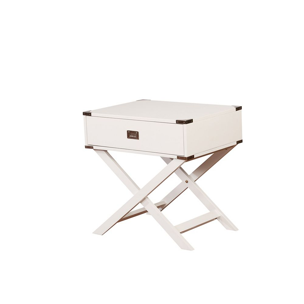 Linon Home Décor Products Posey X Base White Accent Table