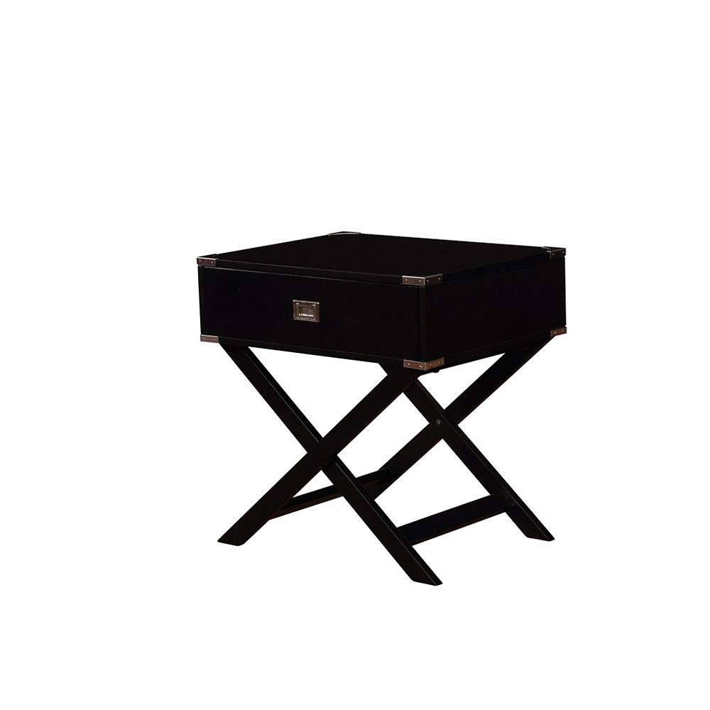 Linon Home Décor Products Posey X Base Black Accent Table