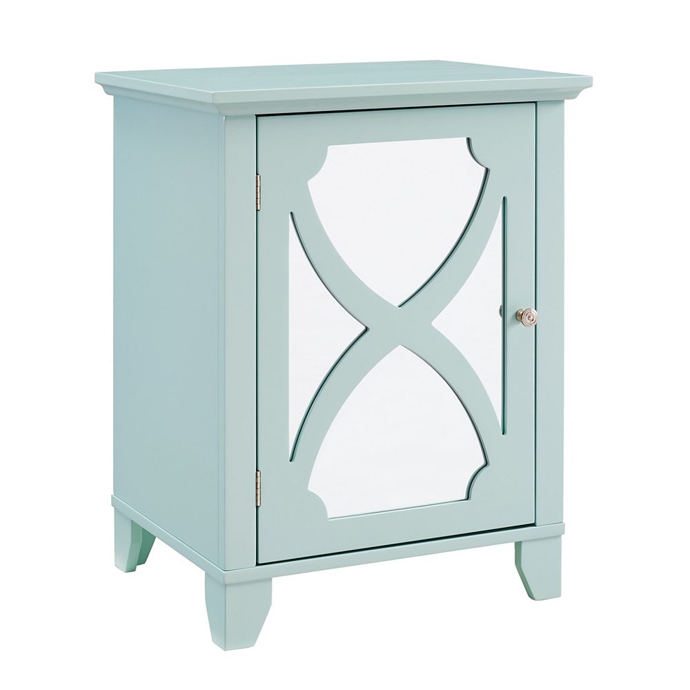 Linon Home Décor Products Helen Seafoam Small Cabinet with Mirror Door