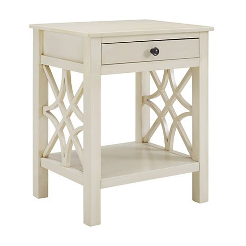 Cary Antique White End Table