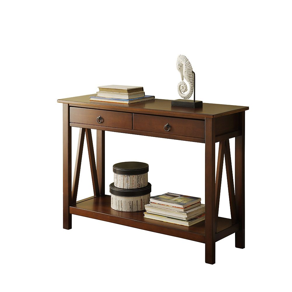 Linon Home Décor Products Edgewood Antique Tobacco Console Table