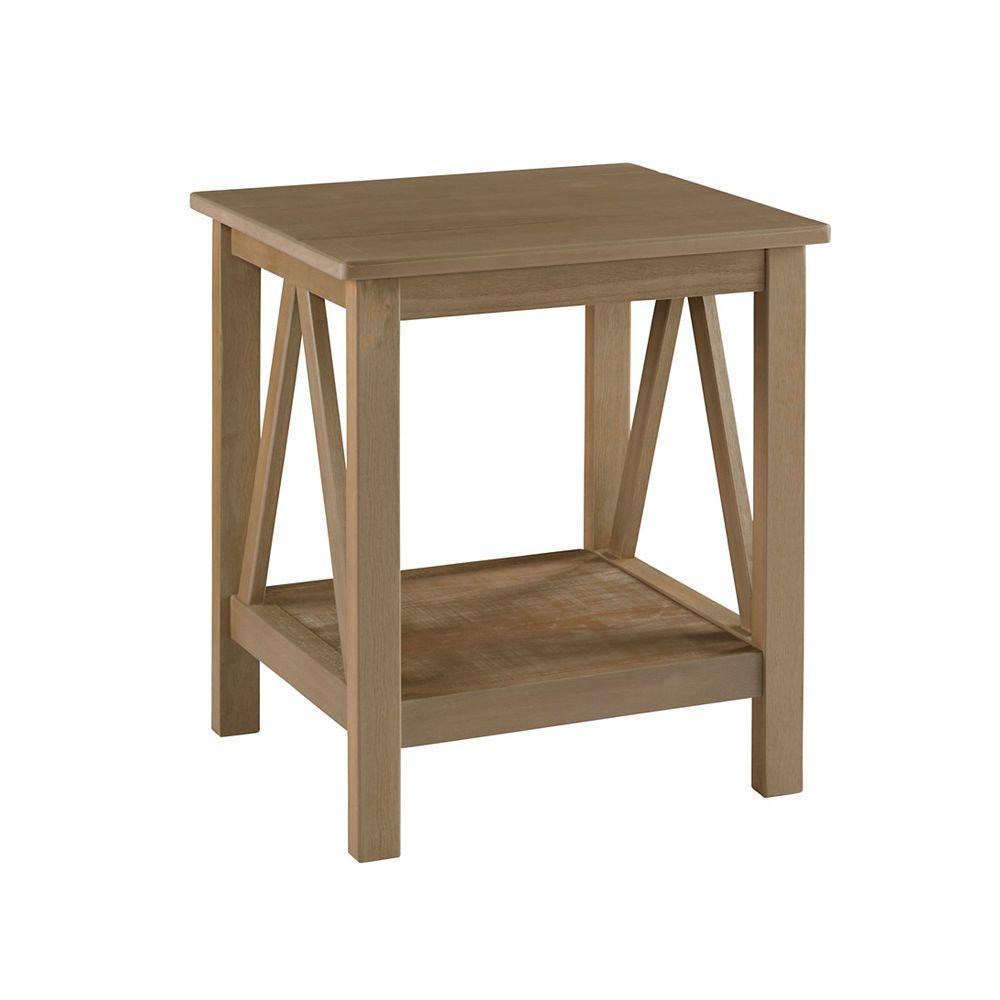 Linon Home Décor Products Table dextrémité gris rustique Edgewood
