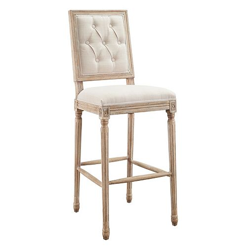 Linon Home Décor Products Hayes Linen Tufted Square Back Bar Stool
