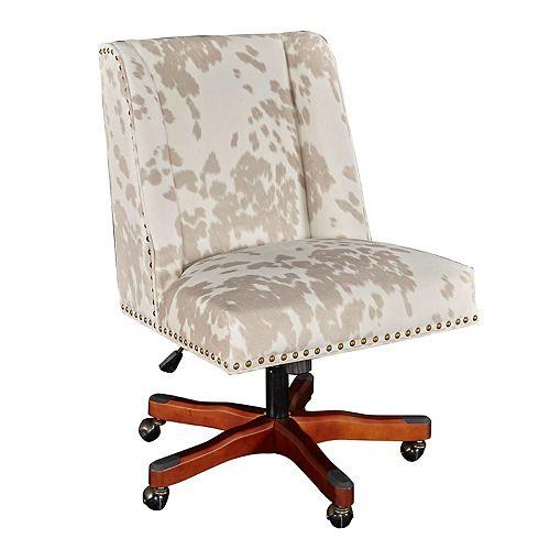 Monroe Linen Cow Print Office Chair