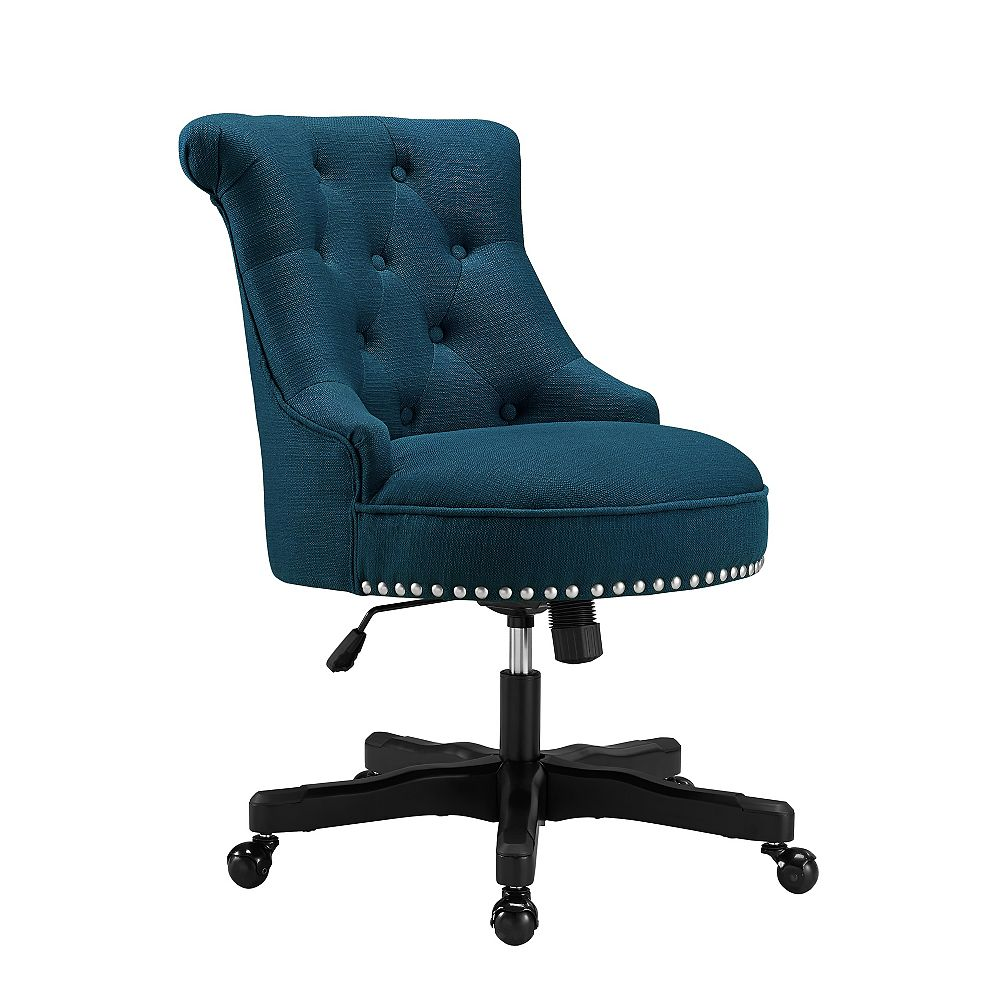 Linon Home Décor Products Callum Azure Blue Office Chair