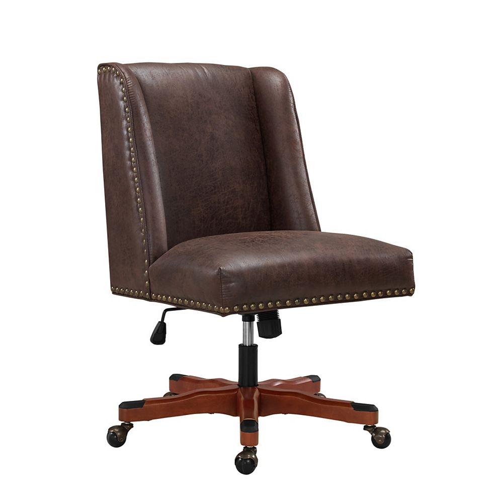 Linon Home Décor Products Fauteuil de bureau Monroe, brun