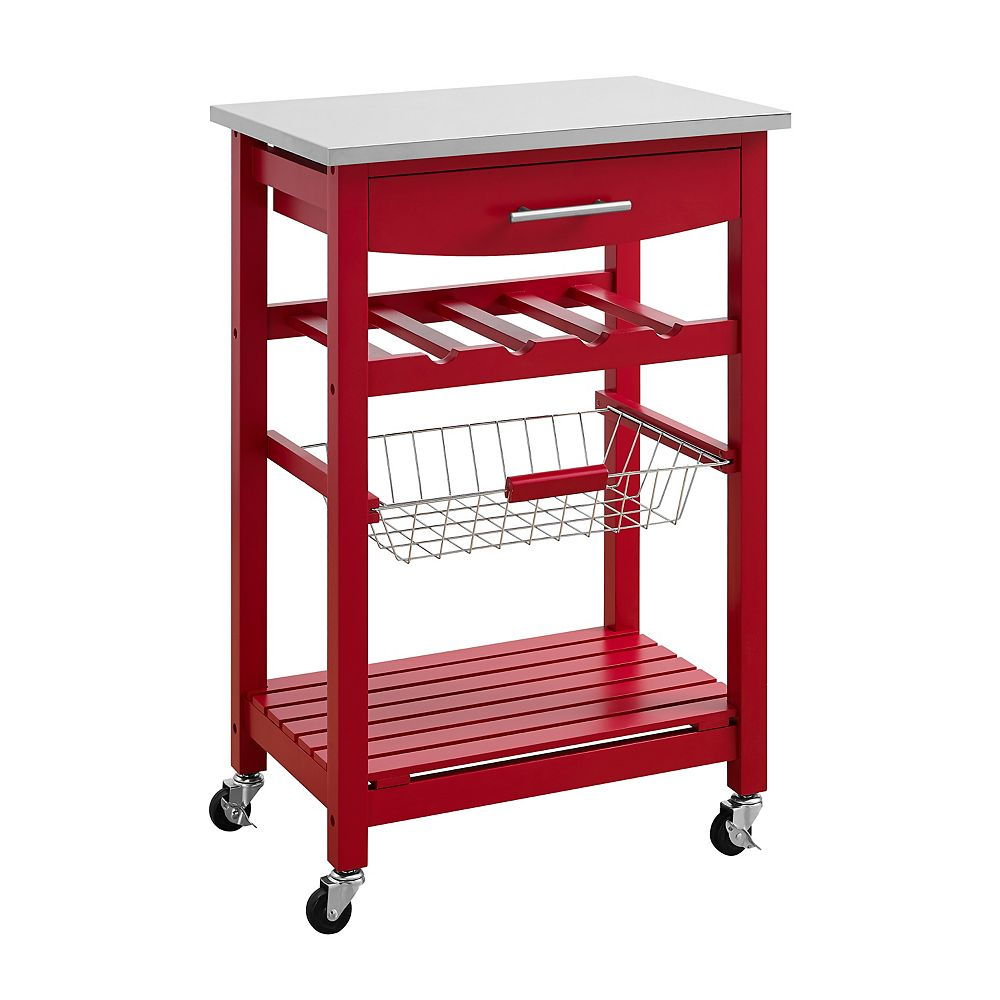 Linon Home Décor Products Clarke Red Kitchen Cart
