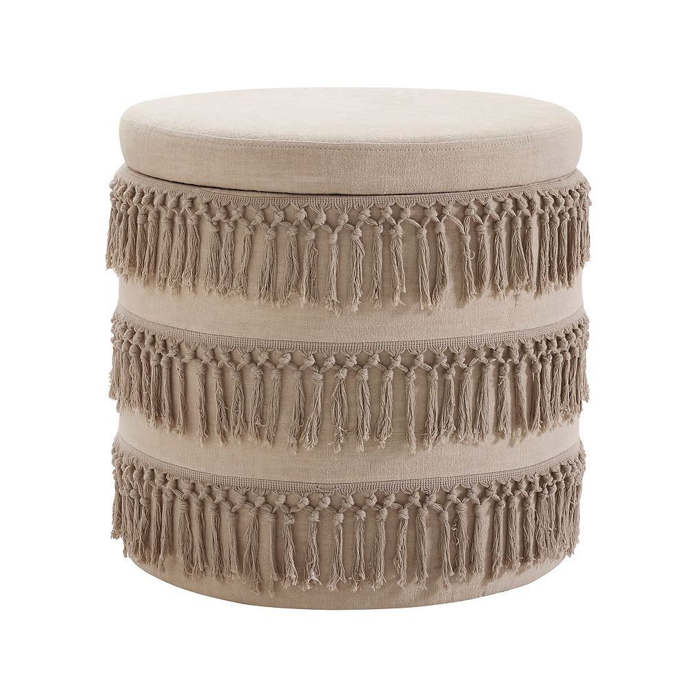 Linon Home Décor Products Renee Beige Fringe Ottoman