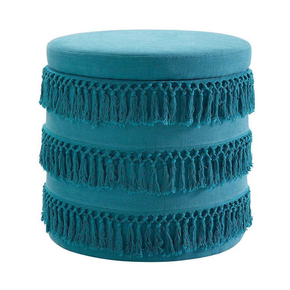 Linon Home Décor Products Ottomane avec frange bleue Renee
