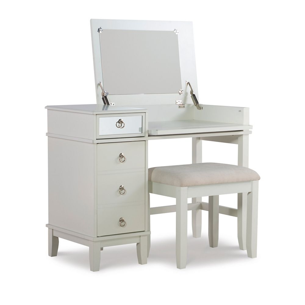 Linon Home Décor Products Tasha White Vanity Set