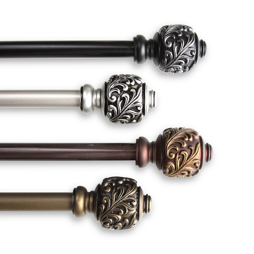 """Rod Desyne 5/8"""" Dia Adjustable 48"""" to 84"""" Single Curtain Rod with Tilly Finials in Black"""