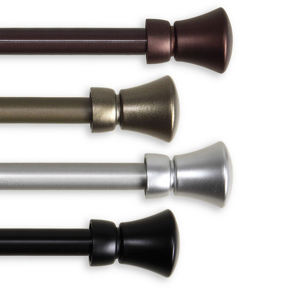 """Rod Desyne 5/8"""" Dia Adjustable 48"""" to 84"""" Single Curtain Rod with Cora Finials in Cocoa"""