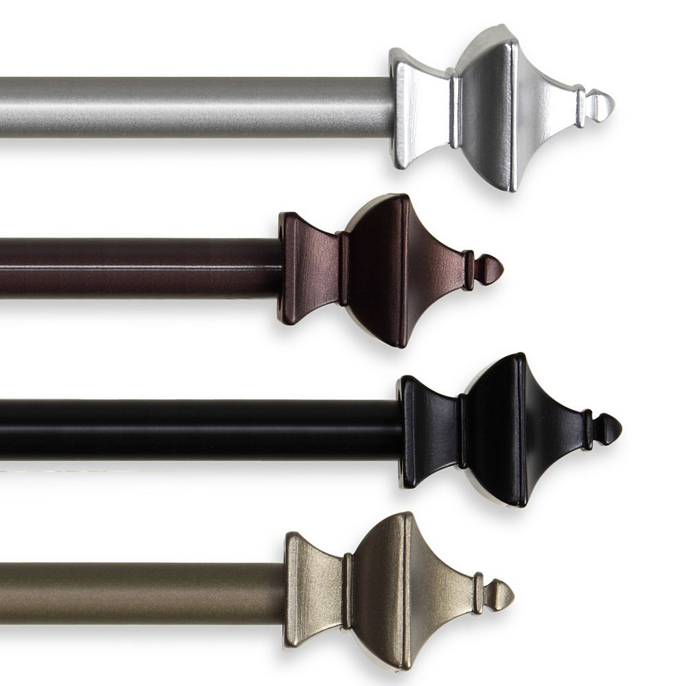 "Rod Desyne 5/8"" Dia Adjustable 28"" to 48"" Single Curtain Rod with Esta Finials in Satin Nickel"