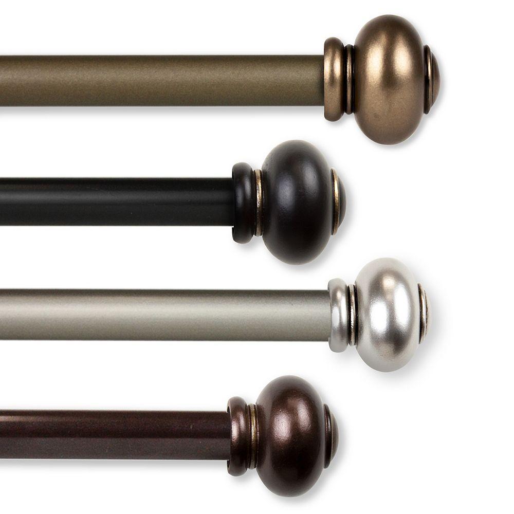"Rod Desyne 5/8"" Dia Adjustable 28"" to 48"" Single Curtain Rod with Yolanda Finials in Black"