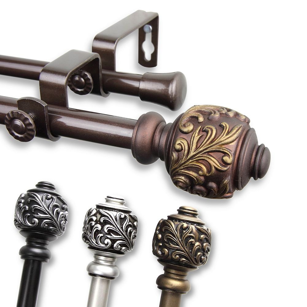 """Rod Desyne 5/8"""" Dia Adjustable 84"""" to 120"""" Double Curtain Rod with Tilly Finials in Black"""