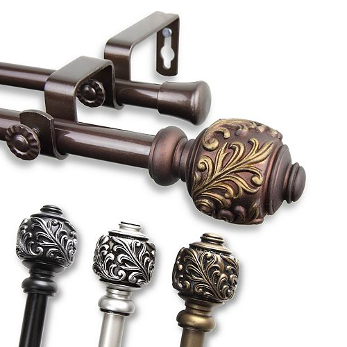 """5/8"""" Dia Adjustable 84"""" to 120"""" Double Curtain Rod with Tilly Finials in Cocoa"""