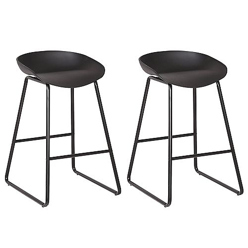 26 inch modern counter stool with PP plastic seat and metal structure - Black - Set of 2