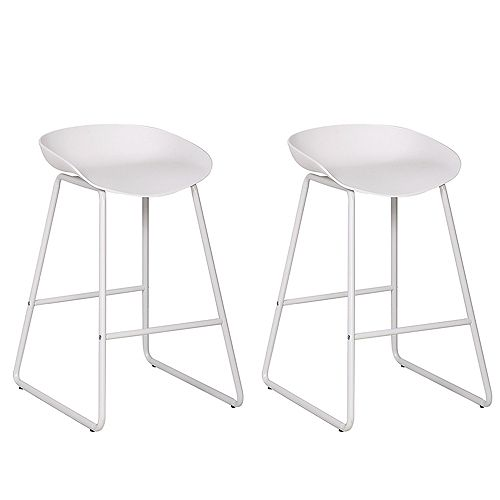 26 inch modern counter stool with PP plastic seat and metal structure - White - Set of 2