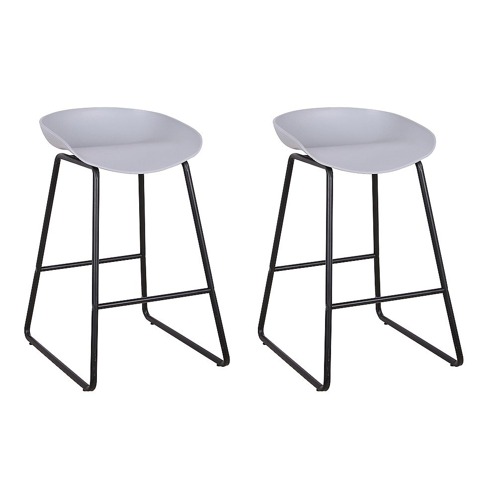 Bronte Living 26 inch modern counter stool with PP plastic seat and metal structure - Gray - Set of 2