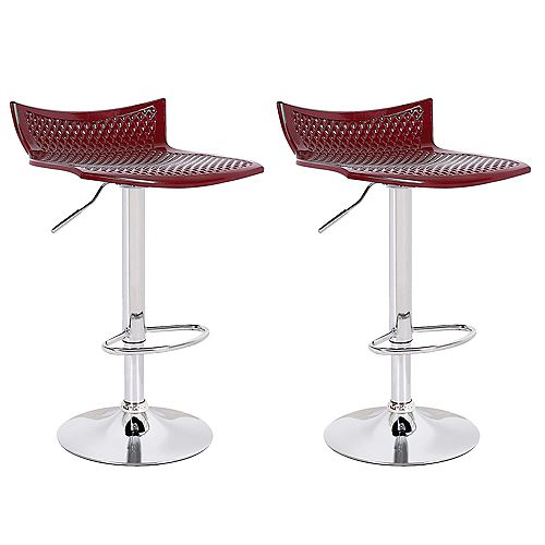 Deep Red ABS Bar stool with adjustable height, 360 swivel seat design - Set of 2