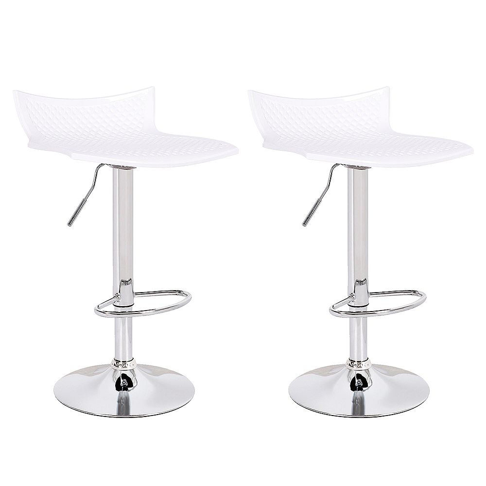 Bronte Living White ABS Bar stool with adjustable height, 360 swivel seat design - Set of 2