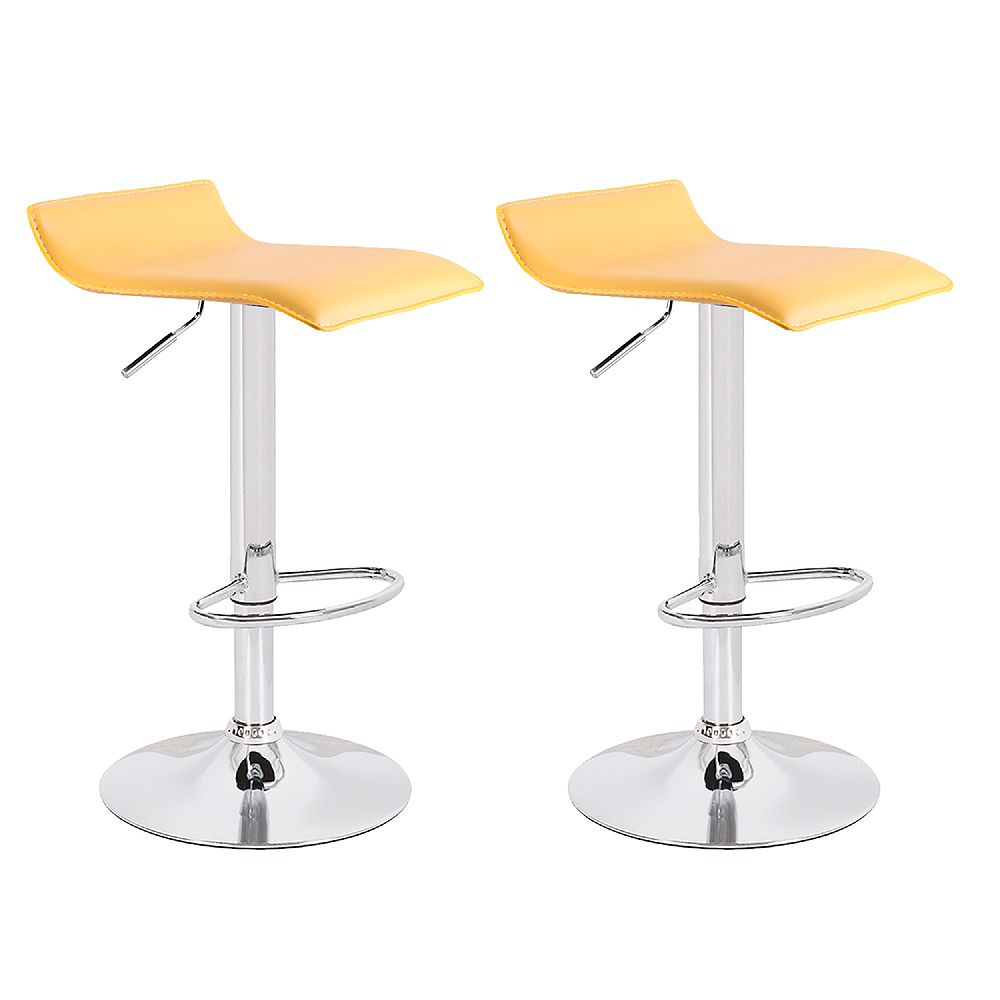 Bronte Living Leatherette bar stool 360 swivel low backrest adjustable height -Yellow- Set of 2
