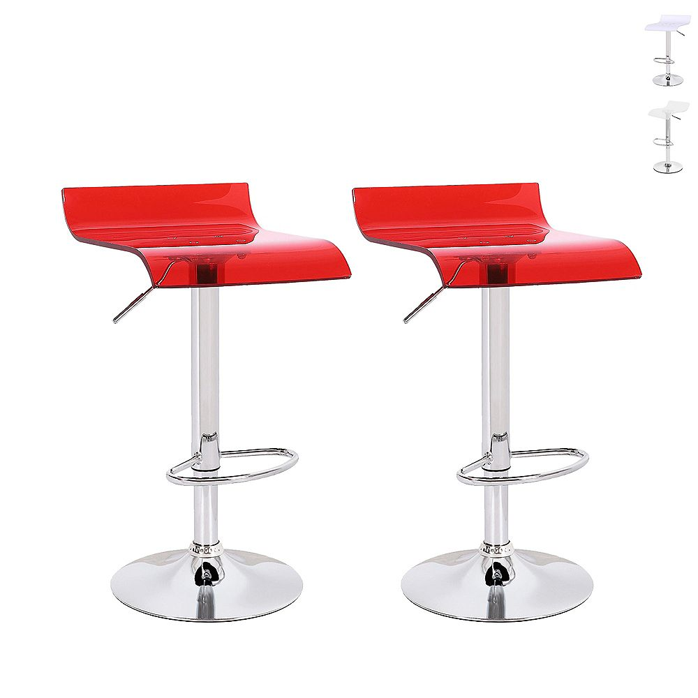 Bronte Living Clear Red acrylic bar stool 360 swivel low backrest, adjustable height - Set of 2