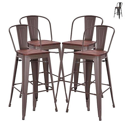 30 inch Bar Height Metal Bar Stool with Elm Wood Seat and Mid-Backrest -Antique Espresso-Set of 4