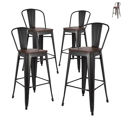 30 inch Bar Height Metal Bar Stool with Elm Wood Seat and Mid-Backrest -Matte Black-Set of 4